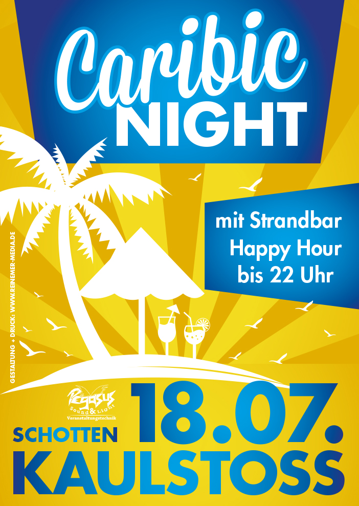 Eventplakat zur Caribic Night in Kaulstoss