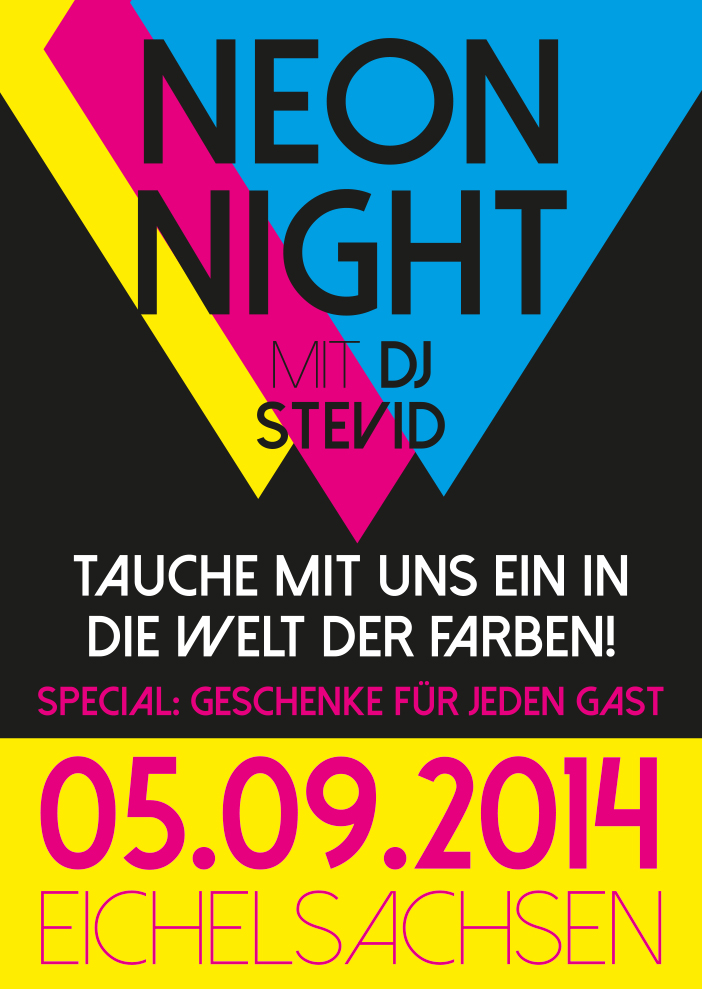 Eventplakat zur Neon Night in Eichelsachsen