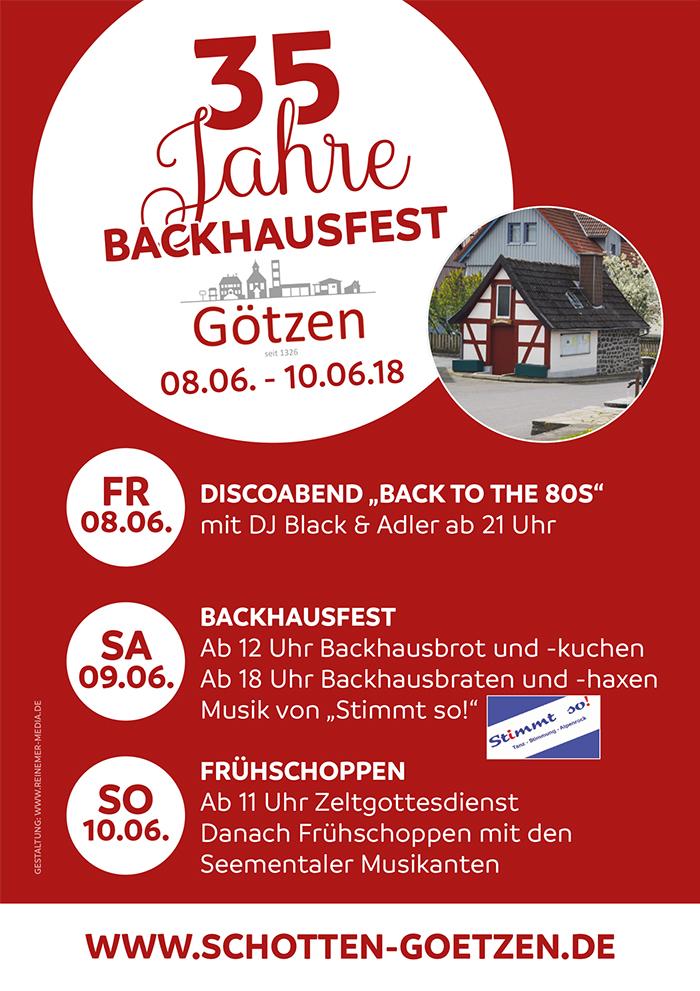 """Festprogramm anlässlich des Jubiläums &quot35 Jahre Backhaus Götzen"""""""